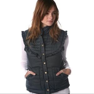 Free People green Ruffled quilted Sherpa vest 3597
